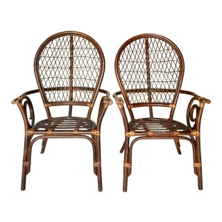 Vintage Bent Rattan and Wicker High Back Armchairs - A Pair