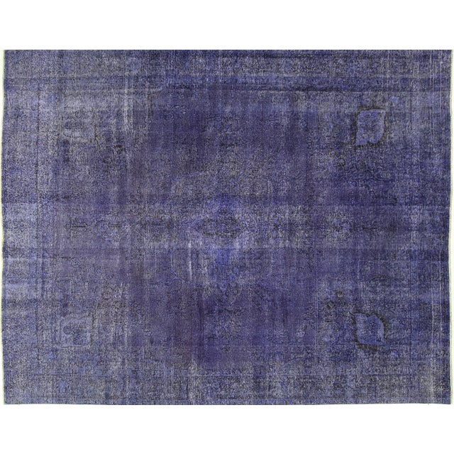 "Purple Overdyed Oriental Rug - 10' 1"" x 12' 1"" - Image 1 of 10"