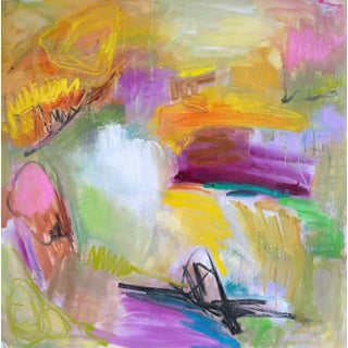 "Trixie Pitts ""Blooming Canyon"" Abstract Oil Painting"