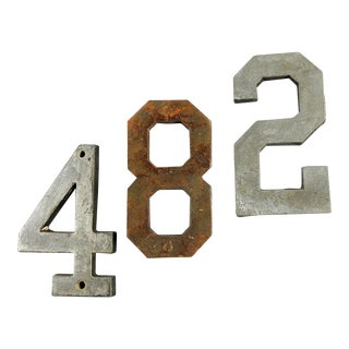 Vintage 4, 8 & 2 Metal Numbers - Set of 3