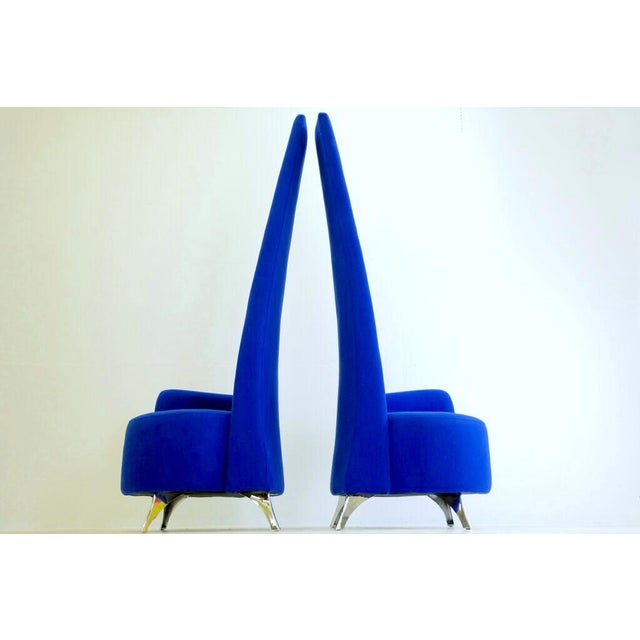 Modern Italian High Back Chairs - A Pair - Image 4 of 8