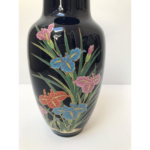 Asian Inspired Navy Floral Vase - Image 3 of 6