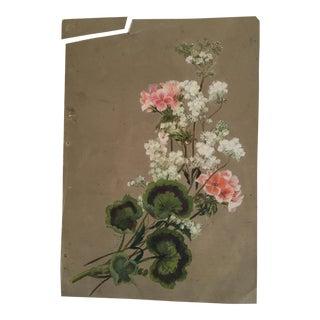 Antique Signed Geranium Gouache Painting