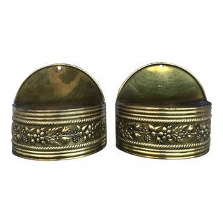 Brass Wall Hanging Planter Sconces - A Pair