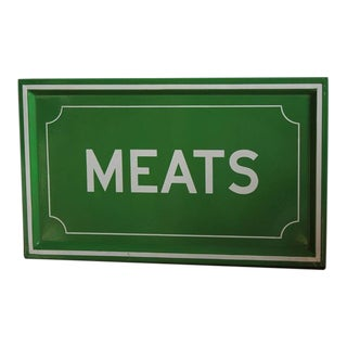 1950s Enamel MEATS Sign
