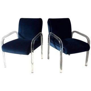 Vintage Blue Velvet Lucite Arm Chairs - A Pair