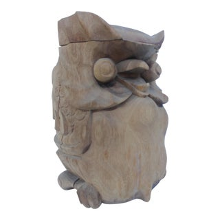 Decorative Solid Carved Wood Owl Lidded Bucket