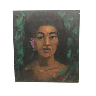 Woman With Flower Oil Painting