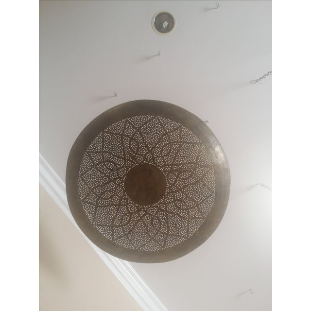 Moroccan Hand Carved Brass Ceiling Light - Image 3 of 4