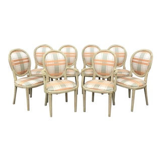 Vintage Carved Rope Dining Chairs - Set of 8