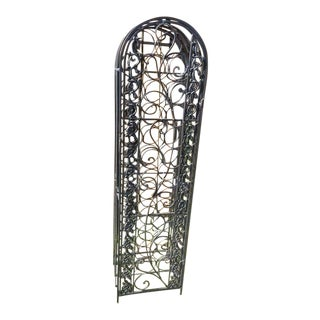 Vintage Standing Wrought Iron Wine Rack