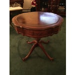 Image of Round Wood Pedestal & Leather Top Side Table