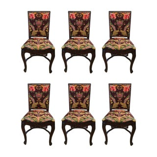 French Country Carved Mahogany Dining Chairs - Set of 6