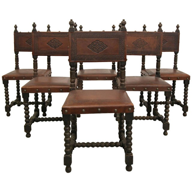Antique Spanish Colonial Leather Dining Chairs- 6