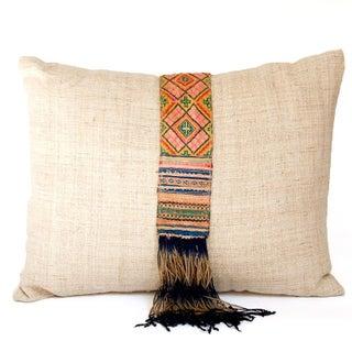 Vintage Hmong Hemp Throw Pillow