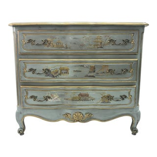 Vintage Blue Serpentine French Commode Chest of Drawers