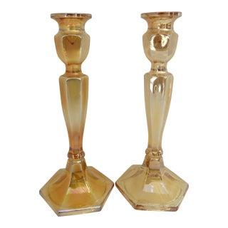 Marigold Iridescent Candlesticks - A Pair