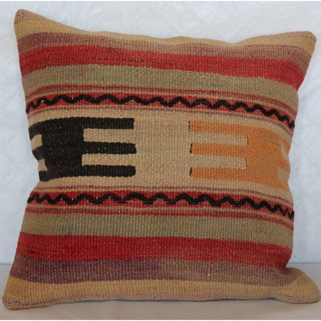 "Turkish Vintage Kilim Pillowcase - 16"" x 16"" - Image 2 of 6"
