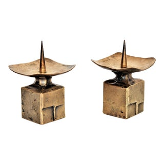 Weiland Basel Switzerland Brutalist Brass Candle Holders - a Pair- Mid Century Scandinavian Modern Candlesticks Millennial