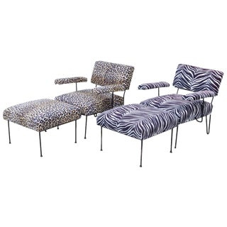 Dorothy Schindele for Modern Colors Inc Iron Lounge Chairs & Ottomans - 4 Pieces