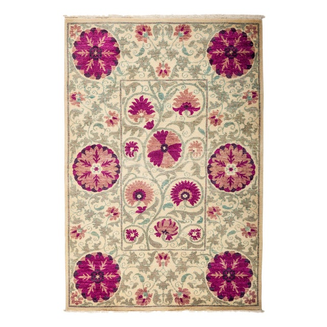 "New Hand-Knotted Suzani Pink & Tan Rug - 4'2"" X 6'2"" - Image 1 of 3"