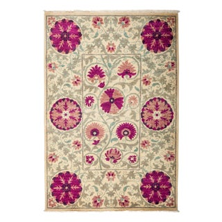 "New Hand-Knotted Suzani Pink & Tan Rug - 4'2"" X 6'2"""