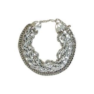 90s Silver Multi 4 Strand Chain Necklace