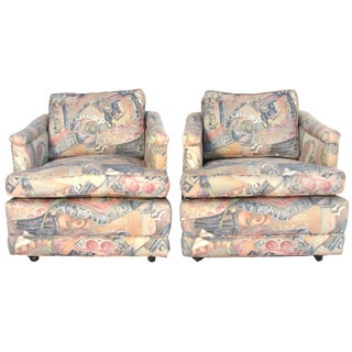 1960s Upholstered Club Chairs - A Pair