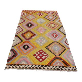 Vintage Turkish Kilim Rug - 5′6″ × 10′2″
