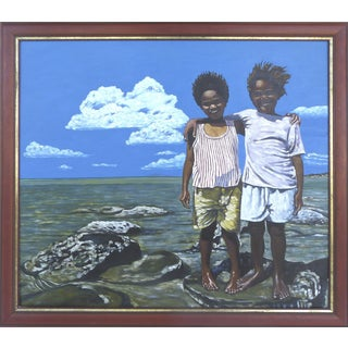 "M. Nakachi ""Aboriginal Children"" Oil Painting"