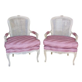 Refurbished Cane Back Bergere Chairs - A Pair