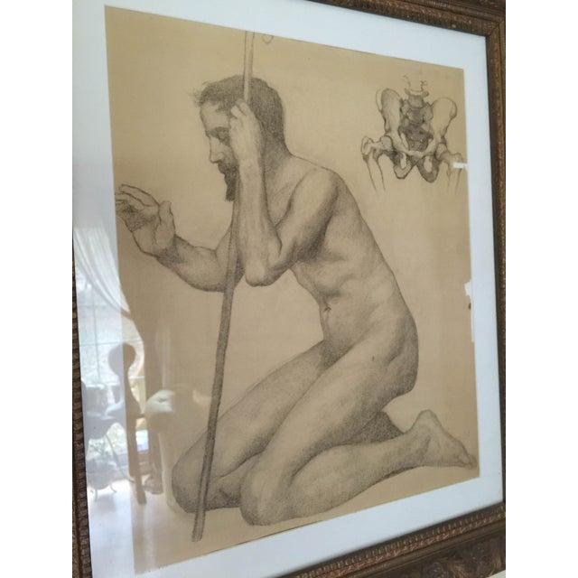 Rare Original Victorian Framed Figure Drawing - Image 3 of 7