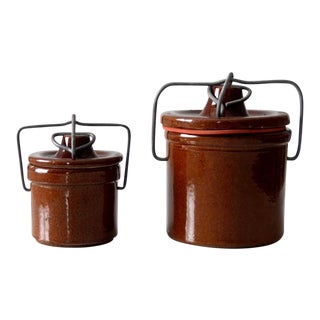 Vintage Bail Lock Preserve Jars - Set of 2