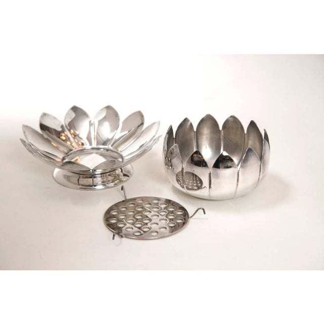Mid-Century Silver Lotus Flower Holders by Reed and Barton - Image 5 of 8