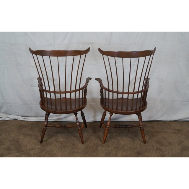 Custom Fan Back Windsor Arm Chairs - A Pair - Image 4 of 10