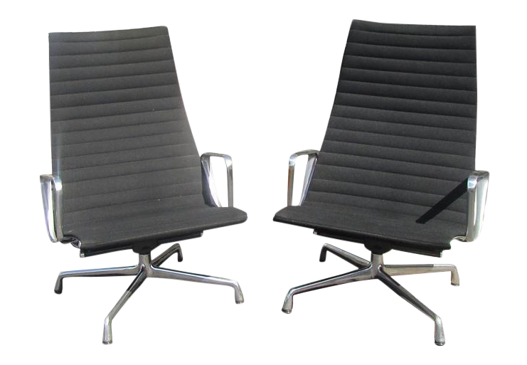 Vintage Herman Miller For Eames Aluminum Group Chairs   A Pair