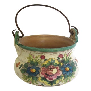Antique Italian Painted Clay Pot
