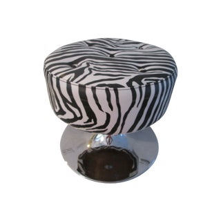 Black & White Zebra Print Chrome Ottoman