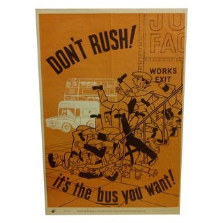 "Vintage ""Don't Rush"" British Safety Poster"
