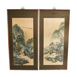 Original Batik Scroll Framing Oil Painting Wood Carvings, Made in Taiwan - A Pair