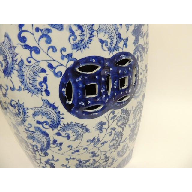 Image of Vintage Blue & White Garden Stool