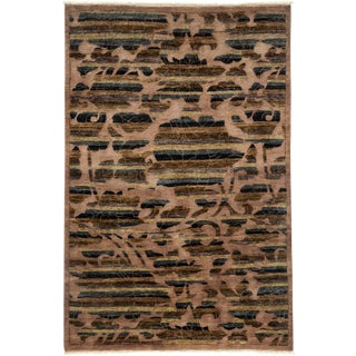 """New Arts & Crafts Hand Knotted Area Rug - 4'2"""" x 6'2"""""""