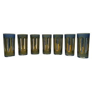 Vintage 1960 Etched Gold Culver Glasses - Set of 7