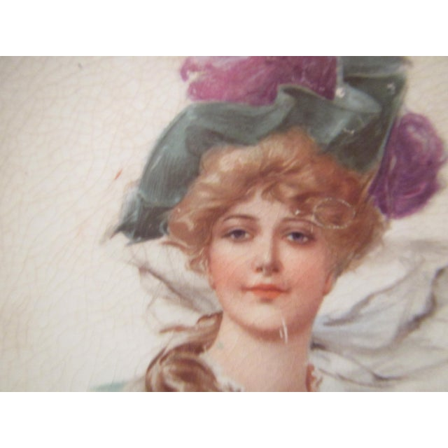 Signed 1907 Victorian Woman's Portraiture Bowl - Image 3 of 10