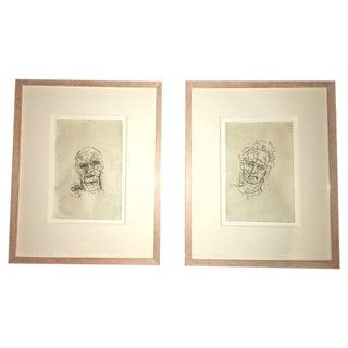 Framed Etchings - Pair