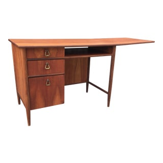 Mid-Century Drop Leaf Desk With Brass