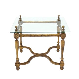 Figural Base Glass Top Side End Table