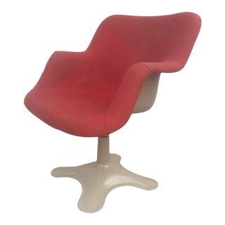 Yrjo Kukkapuro Sculptural Red Fiberglass Swivel Chair