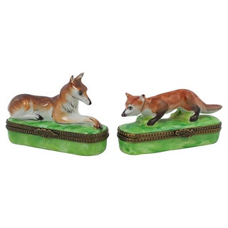 Fox & Hound Limoges Boxes - a Pair