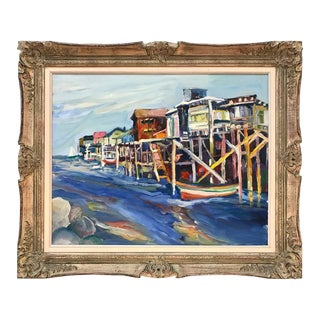 """View of Cannery Row"" Oil Painting, Signed by Jane Bradford"